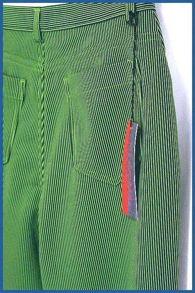 グリーン&ブラックのピンストライプ*パンタロン