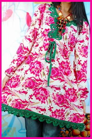 可愛中国娘クーニャン*Aライン・チュニック ワンピ*ローズピンク 花柄
